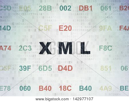 Database concept: Painted black text Xml on Digital Data Paper background with Hexadecimal Code