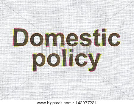 Political concept: CMYK Domestic Policy on linen fabric texture background