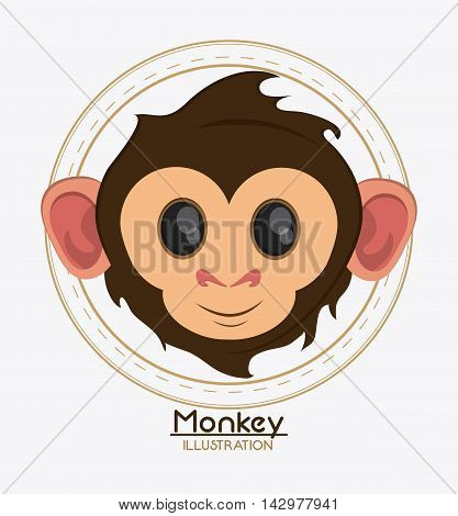 monkey face cartoon animal ape icon. Colorful design. Vector illustration