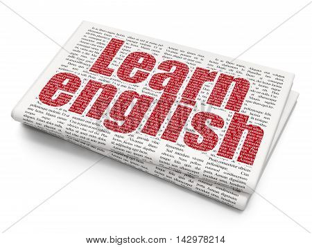 Learning concept: Pixelated red text Learn English on Newspaper background, 3D rendering