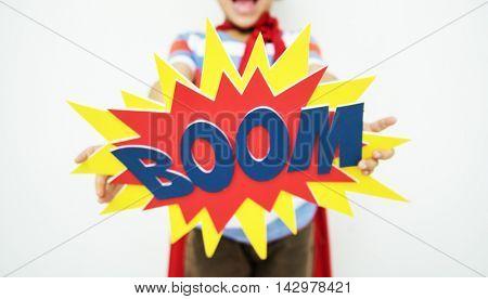 Superherokid Fun Boom Smiling Helper Enjoy Concept