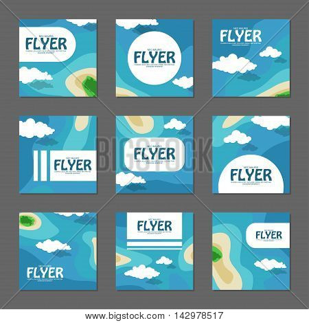 Set Of Square Flyers With The Sea And The Islands. Vector