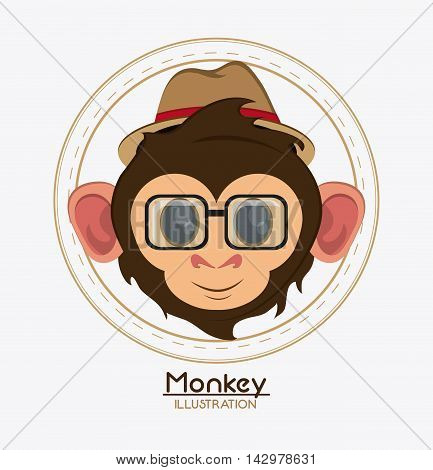 monkey face glasses hat cartoon animal ape icon. Colorful design. Vector illustration