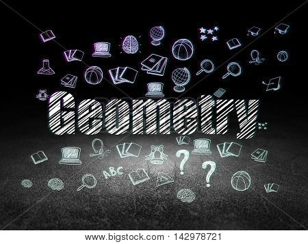 Studying concept: Glowing text Geometry,  Hand Drawn Education Icons in grunge dark room with Dirty Floor, black background