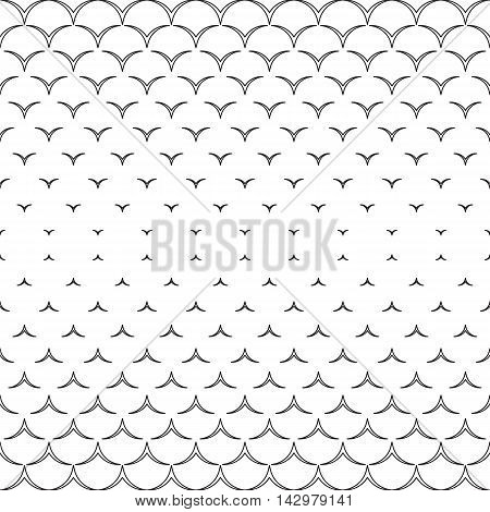 Monochrome decor. Endless abstract background. Geometric seamless backdrop. Modern repeating texture. Black and white illustration.
