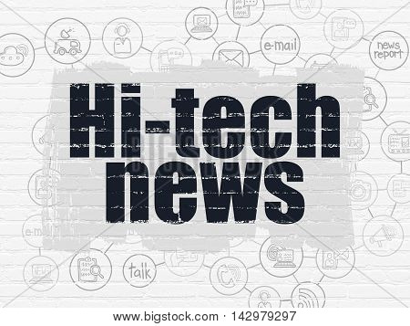 News concept: Painted black text Hi-tech News on White Brick wall background with Scheme Of Hand Drawn News Icons