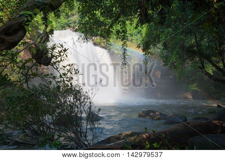 Beautiful waterfalls and rainbow in the forest