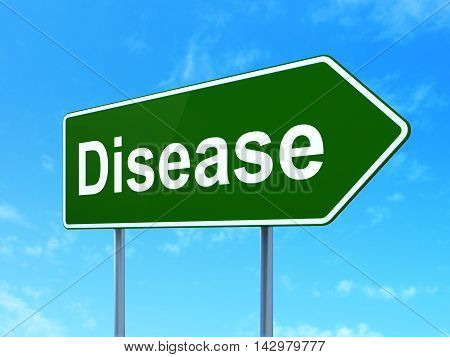 Health concept: Disease on green road highway sign, clear blue sky background, 3D rendering