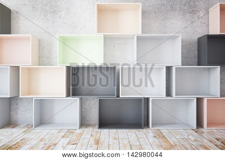 Stacks of empty colroful boxes in room with concrete wall and wooden floor. Mock up 3D Rendering