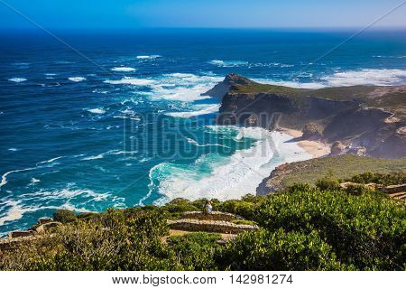 Cape of Good Hope. Cape on the Cape Peninsula south of Cape Town, South Africa in the Atlantic Ocean