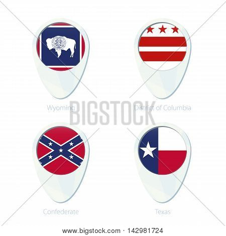 Wyoming, District Of Columbia, Confederate, Texas Flag Location Map Pin Icon.