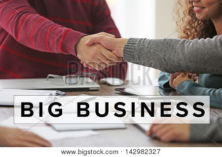 Business training concept. Business people shaking hands