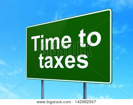 Business concept: Time To Taxes on green road highway sign, clear blue sky background, 3D rendering