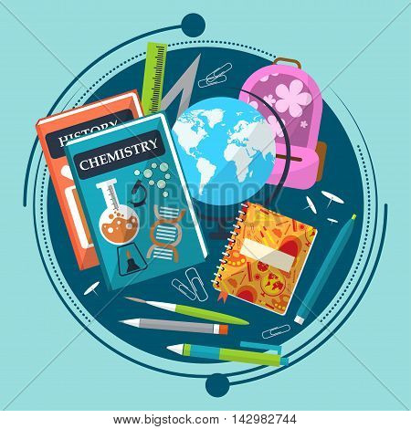 Composition On The Theme Of School With Books, Briefcase, Globe And Stationery. Vector
