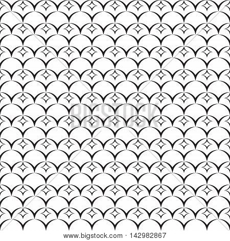 Monochrome pattern. Endless abstract design. Geometric seamless decor. Modern repeating background. Black and white backdrop.