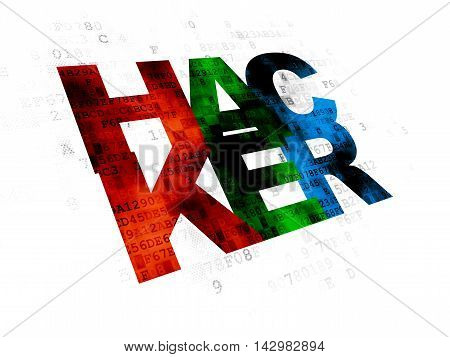 Security concept: Pixelated multicolor text Hacker on Digital background