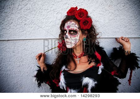 Scary Woman With Rose In Hand