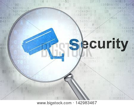 Privacy concept: magnifying optical glass with Cctv Camera icon and Security word on digital background, 3D rendering