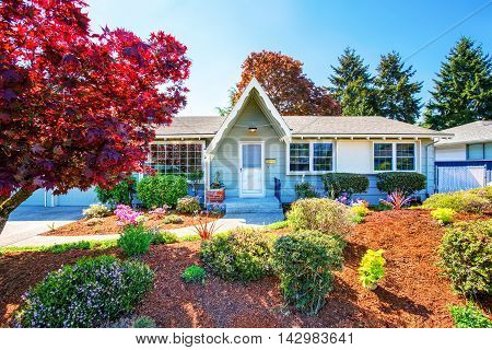 Beautiful Curb Appeal Of Small American House.