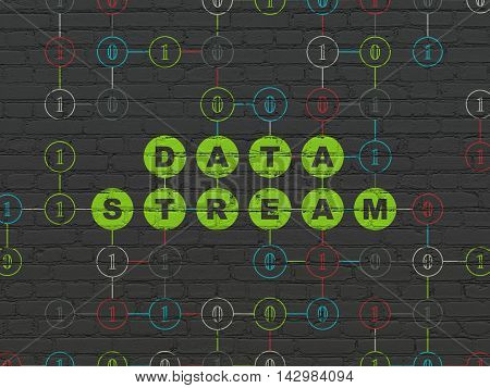Data concept: Painted green text Data Stream on Black Brick wall background with Binary Code