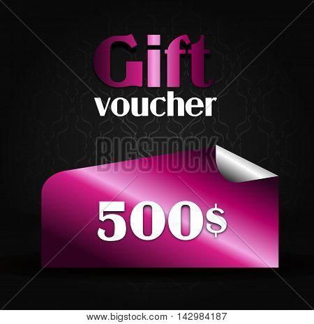 Illustration of modern pink gift voucher on 500$