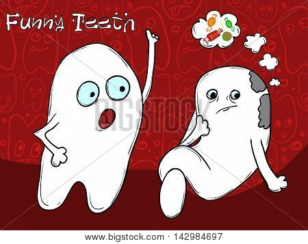 The Concept Of Problem Tooth. Amateur Sweet Candy. It Is Necessary To Brush Your Teeth. Vector