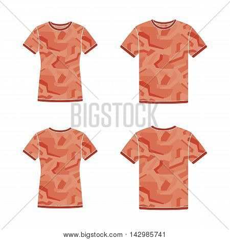 Mens and womens red short sleeve t-shirts templates with the camouflage pattern. Front and back views. Vector flat illustrations