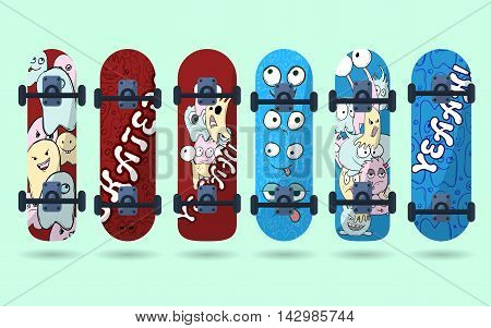 Collection Of Blue And Red Skateboard With Monsters On A Light Background. Vector