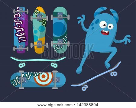 Set Of Bright Skateboard On A Dark Background With A Cheerful Blue Monster. Vector