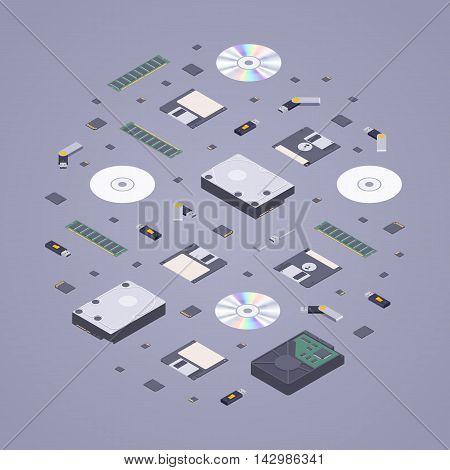 Isometric flat digital memory storages against the purple background. 3D isometric flat vector conceptual illustration