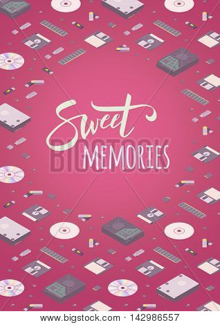 Sweet memories vector decorating design. Colorful card template with copy space