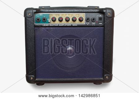 guitar amplifier isolated on white background background, white, control, black