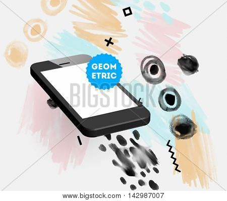 Mobile phone icon with abstract watercolor hipster background design. All aquarelle elements are monochrome and easy to recolor.