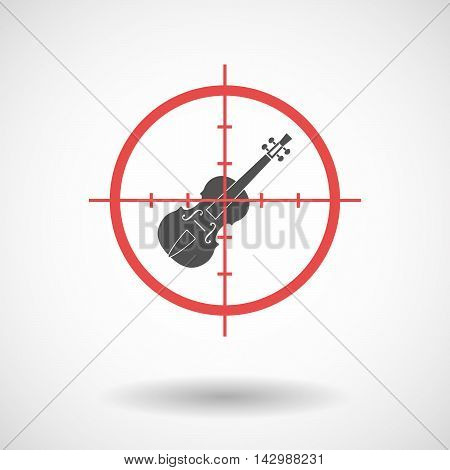 Isolated Line Art Crosshair Icon With  A Violin