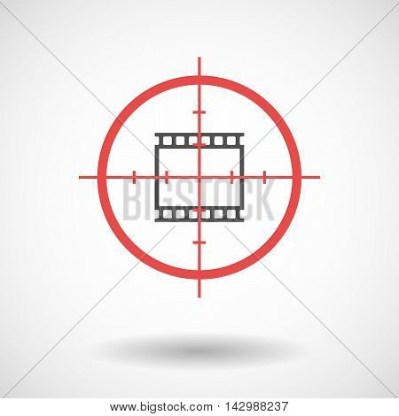 Isolated Line Art Crosshair Icon With   A Photographic 35Mm Film Strip