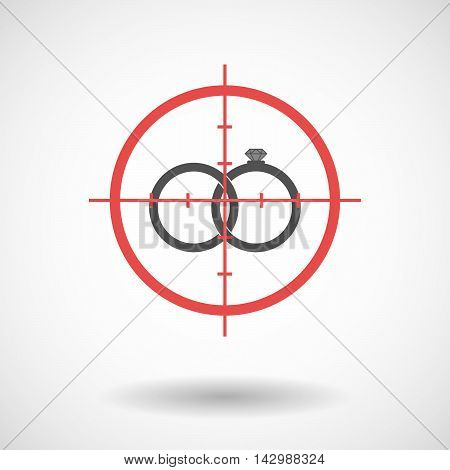 Isolated Line Art Crosshair Icon With  Two Bonded Wedding Rings