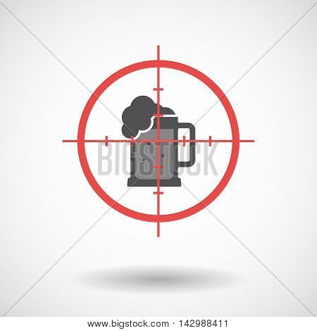 Isolated Line Art Crosshair Icon With  A Beer Jar Icon