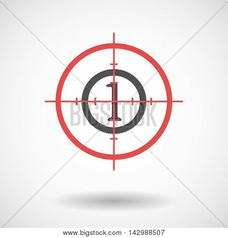 Isolated Line Art Crosshair Icon With  A Coin Icon