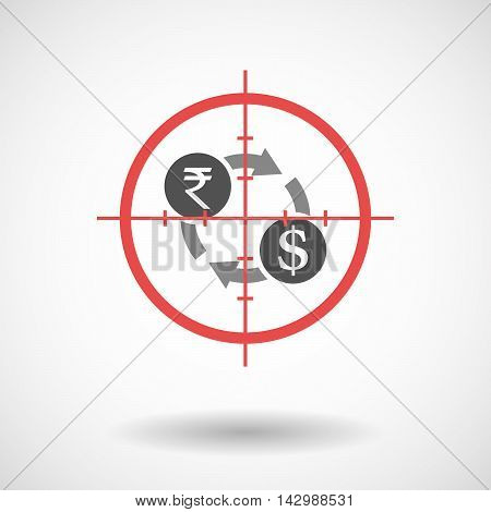 Isolated Line Art Crosshair Icon With  A Rupee And Dollar Exchange Sign