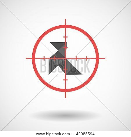 Isolated Line Art Crosshair Icon With  A Paper Bird