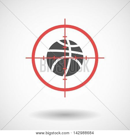 Isolated Line Art Crosshair Icon With  A Basketball Ball