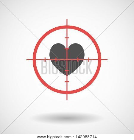 Isolated Line Art Crosshair Icon With  The Heart Poker Playing Card Sign