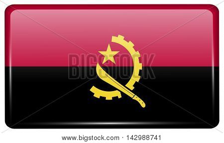 Flags Angola In The Form Of A Magnet On Refrigerator With Reflections Light. Vector