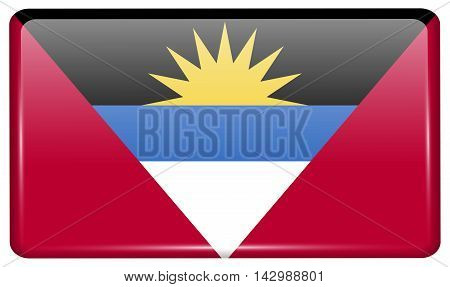 Flags Antigua And Barbuda In The Form Of A Magnet On Refrigerator With Reflections Light. Vector