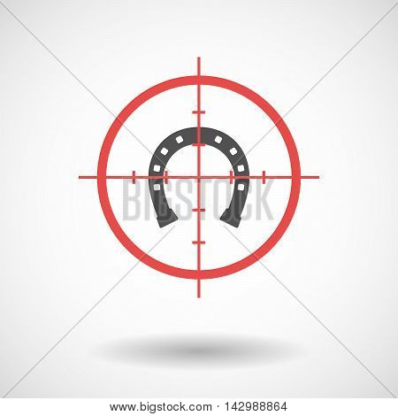 Isolated Line Art Crosshair Icon With  A Horseshoe Sign
