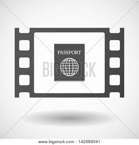 Isolated Celluloid Film Frame Icon With  A Passport