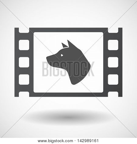 Isolated Celluloid Film Frame Icon With  A Dog Head