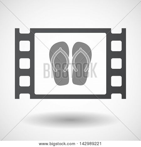 Isolated Celluloid Film Frame Icon With   A Pair Of Flops