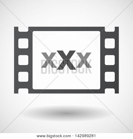 Isolated Celluloid Film Frame Icon With  A Xxx Letter Icon