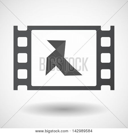Isolated Celluloid Film Frame Icon With  A Paper Bird